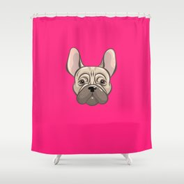 French Pink Bulldog Shower Curtain