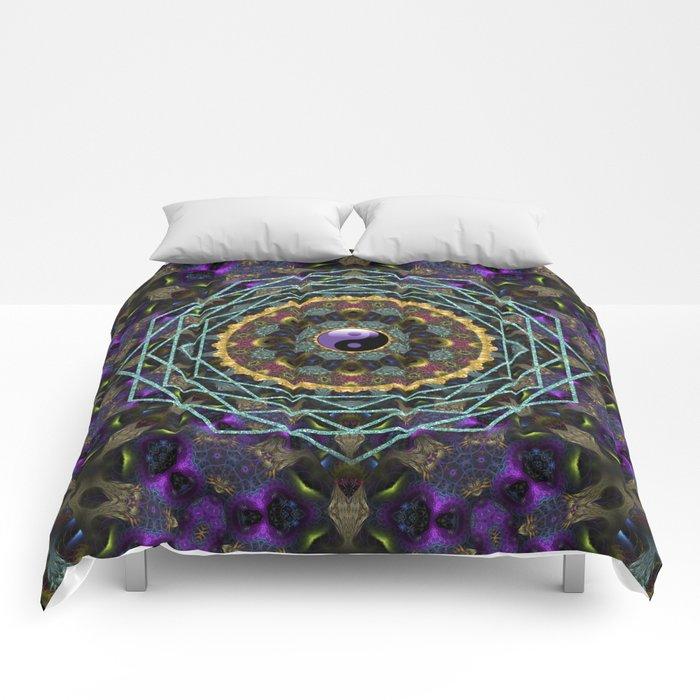 Purple Yin Yang Sacred Geometry Fractals Comforters