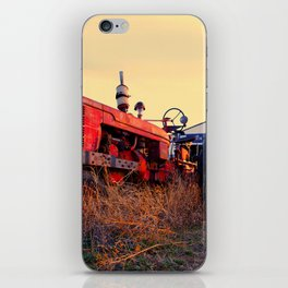 old tractor red machine vintage iPhone Skin