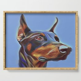 Blue Doberman Serving Tray