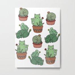 Cactus Cats Metal Print