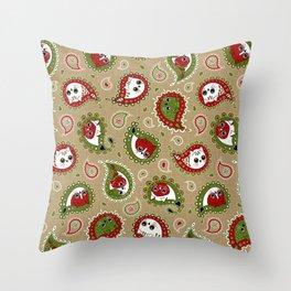 Cat Paisley Christmas Throw Pillow