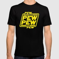 Pew Pew Pew LARGE Black Mens Fitted Tee