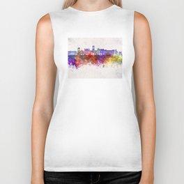 Saint Etienne skyline in watercolor background Biker Tank