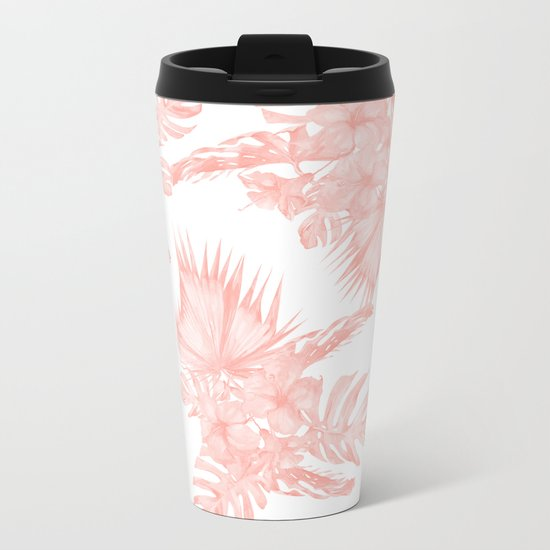Tropical Hibiscus and Palm Leaves Coral White Metal Travel Mug