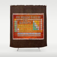 periodic table Shower Curtains featuring Vintage Industrial Periodic Table Of The Elements by Mark E Tisdale
