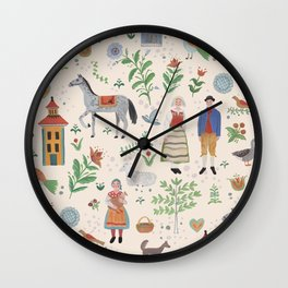 Swedish Folk Art Wall Clock