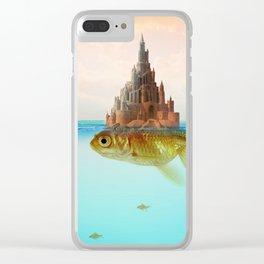 Goldfish Castle Island Clear iPhone Case