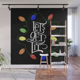 Let's Get Lit, Christmas Lights, Funny Holiday Drinking Design 2 Wall Mural