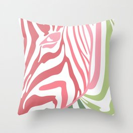 Pink And Green Zebra Portrait, Animal Photo, Large Printable Photography, Stripes Wall Art, Striped Throw Pillow