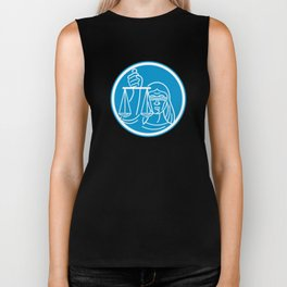 Lady Blindfolded Hold Scales Justice Circle Biker Tank