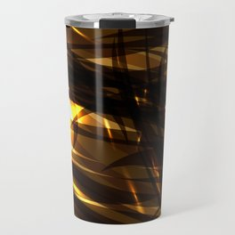 Saturated copper and smooth sparkling lines of black tapes on the theme of space and abstraction. Travel Mug