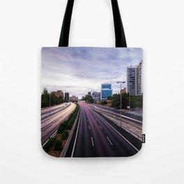 Motorway in Madrid at sunset Tote Bag