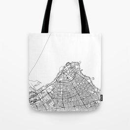 Kuwait City Map Kuwait White and Black Tote Bag