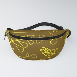 Botanical olive pattern of yellow plants and grass blossoms on mustard background. Fanny Pack