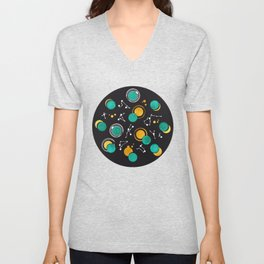 Great Total Solar Eclipse II // turquoise green moons Unisex V-Neck