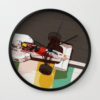 senna Wall Clocks featuring Senna by Bruno Gabrielli