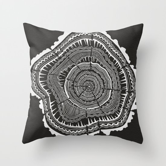 Growth Rings ? 65 Years ? Black Throw Pillow by Cat Coquillette Society6