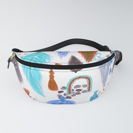 Macrame Feathers + Rainbows in Cool Neutral Rainbow Fanny Pack