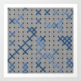 Giant Cross Stitch (Blue) Art Print