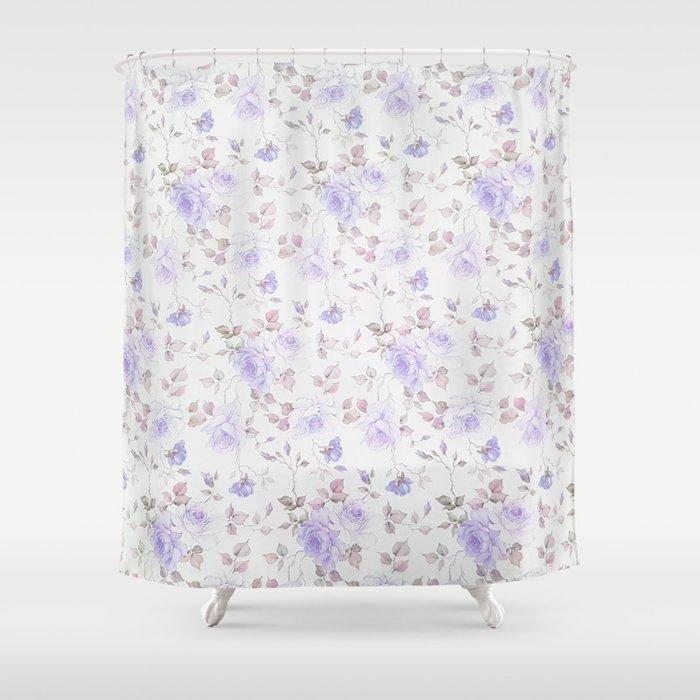 Lavender Gray Elegant Vintage Roses Floral Shower Curtain