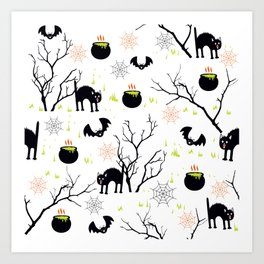 Happy Halloween vector pattern with scary cat poison witch and bat Art Print