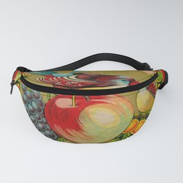 Fruit and Bird Trade Label Fanny Pack
