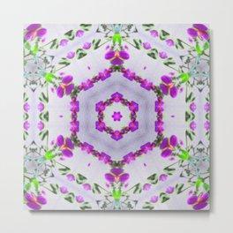 Purple Wildflower Kaleidoscope Art 2 Metal Print