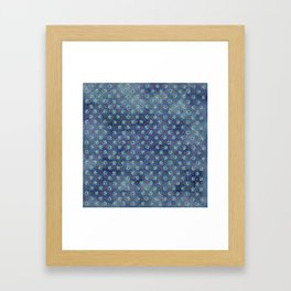 Amazing Watercolor Snowflakes Pattern on the dark blue background Framed Art Print