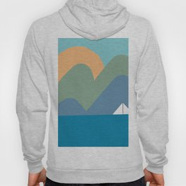 lake and sunset abstract nature landscape drawing Hoody
