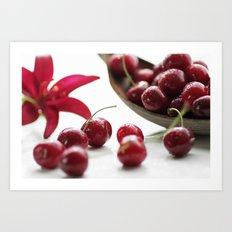 Fresh cherries straight from the tree Art Print