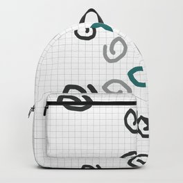 Teal and grey abstract geometry - 3 Backpack