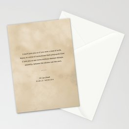 Pablo Neruda Quote On Love 05 - Typewriter Quote On Old Paper - Literary Poster - Book Lover Gifts Stationery Cards