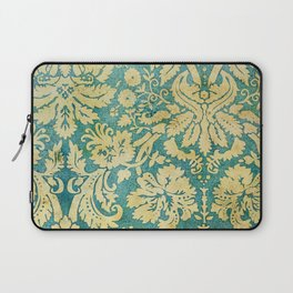 Vintage Antique Green and Gold Pattern Wallpaper Laptop Sleeve