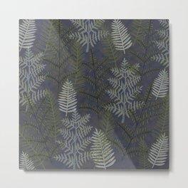 Ferns Purple Blue Metal Print