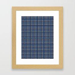 Navy Blue Criss Cross Weave Hand Drawn Vector Pattern Background Framed Art Print