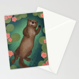 swimming otter Stationery Cards