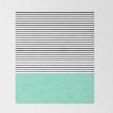 Minimal Mint Stripes Throw Blanket