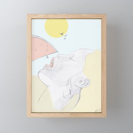 Beauty with watermelon Framed Mini Art Print