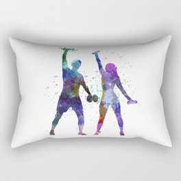 woman exercising with man coach Rectangular Pillow