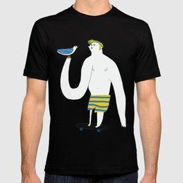 Skateboarding man and bird T-shirt