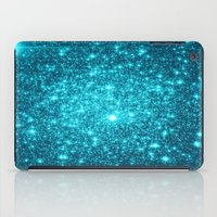 turquoise iPad Cases featuring Turquoise Teal Sparkle Stars by WhimsyRomance&Fun