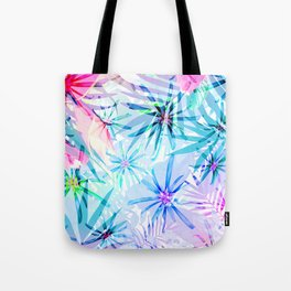 Flashy Colorful Tropical Flowers Design Tote Bag