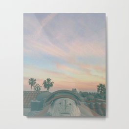 "Face on a rooftop during a Los Angeles Sunset ""the mighty king"" Metal Print"