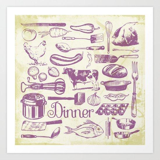 Retro Dinner - Aged Art Print