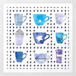Watercolor hand drawn blue colored coffee cups pattern Art Print