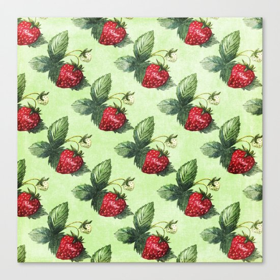 Strawberry Pattern- Strawberries fruits Canvas Print