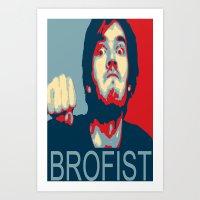 pewdiepie Art Prints featuring PewDiePie Brofist. by Brad Josh