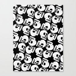 Black and White Human Skull Pattern Canvas Print