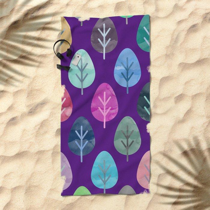 Watercolor Forest Pattern II Beach Towel